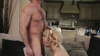 Blonde shemale licked and analed reamed by her husbands cock